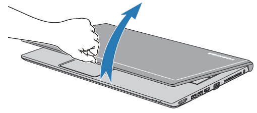 image showing using one hand to open laptop